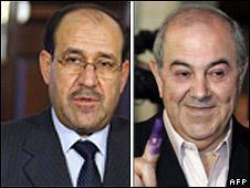 Nouri Maliki (l) and Iyad Allawi (r)