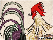 Embroidered cockerel