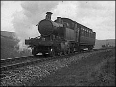 Steam train near Burrator, 1934