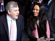 British Prime Minister Gordon Brown is greeted by Labour parliamentary candidate for Bethnal Green and Bow Rushanara Ali,