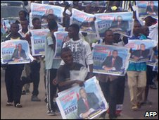 Supporters of Jean-Pierre Bemba
