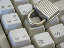 Padlock on keyboard, BBC