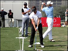 Players practise for the Avantha Masters,