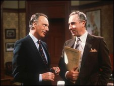 Paul Eddington as Prime Minister Jim Hacker, and Nigel Hawthorne as Sir Humphrey
