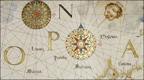 DIOGO HOMEM, A Chart of the Mediterranean Sea, 1570 (detail). Photo credit: British Library Board