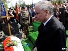 Jaroslaw Kaczynski attends funeral ceremony for member of his party killed in the plane crash