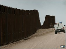The fence separating the US from Mexico