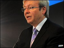 Australian Prime Minister Kevin Rudd in Melbourne (30 March 2010)