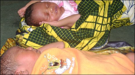 New-born twins at a hospital in Sierra Leone