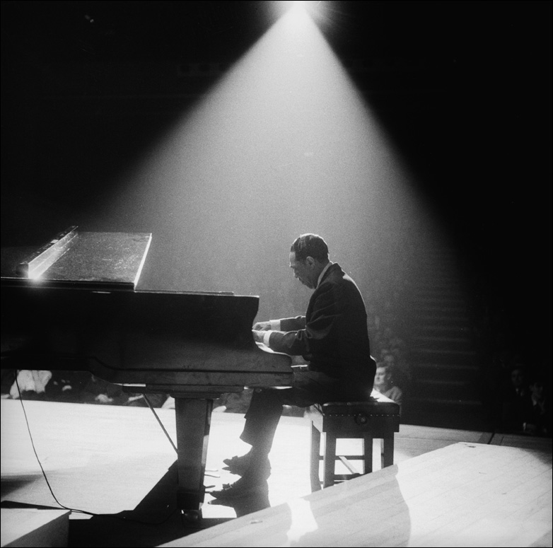American jazz band leader and composer, Duke Ellington (1899 -  1974) at the piano