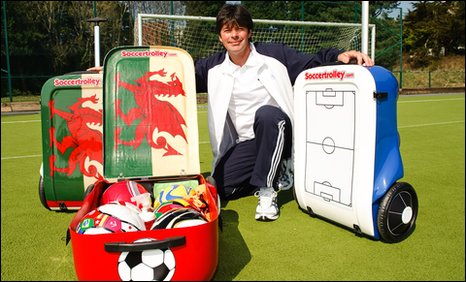 Lee Jenkins with his soccer trolley