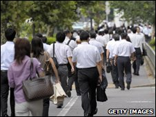 Japanese office workers in Tokyo (file image)