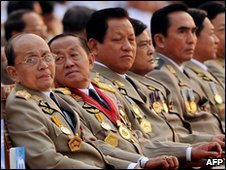 Leaders including PM Thein Sein (second left) on 27 March 2010