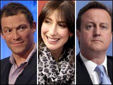 Dominic West, Samantha Cameron and David Cameron