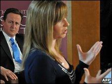 David Cameron watches Brooke Kinsella speak