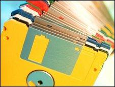 Stack of floppy disks (Eyewire)