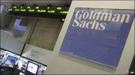 Goldman Sachs booth on the New York Stock Exchange