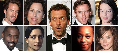 British actors in US dramas, clockwise from left: Joseph Fiennes, Minnie Driver, Hugh Laurie, Damian Lewis, Michelle Ryan, Anna Friel, Marianne Jean-Baptiste, Archie Panjabi, Idris Elba.