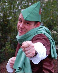 BBC Radio Nottingham presenter Andy Whittaker dressed as Robin Hood