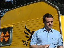 Matthew Taylor with his caravan