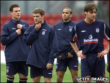 Matt Jansen and colleagues with England