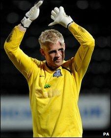 Notts County goalkeeper Kasper Schmeichel