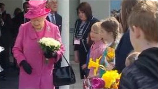 Queen Elizabeth II given flowers