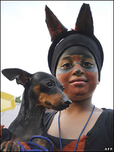 India dog with owner