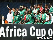 Nigeria celebrating third place at the 2010 Africa Cup of Nations