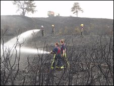 Firefighters at the heath fire at Matchams