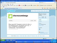 Hugo Chavez's first message on his new Twitter account