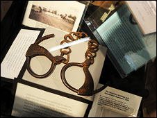 Shackles in the museum at the National Leprosarium in Carville