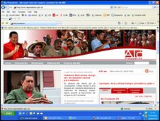 A screen grab of the Alo Presidente website on 28 April