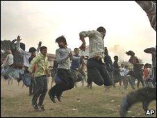 Maoist supporters take part in martial arts training in Kathmandu