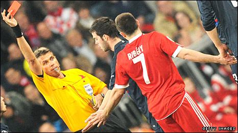 Franck Ribery is sent off