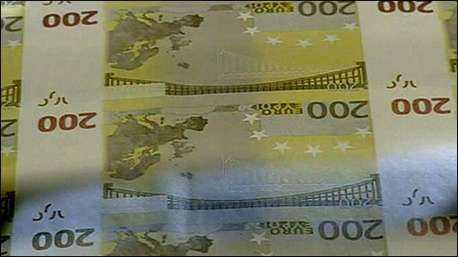 Euros being printed