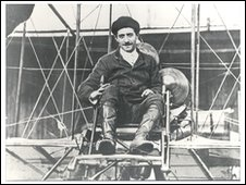 Louis Paulhan on the biplane