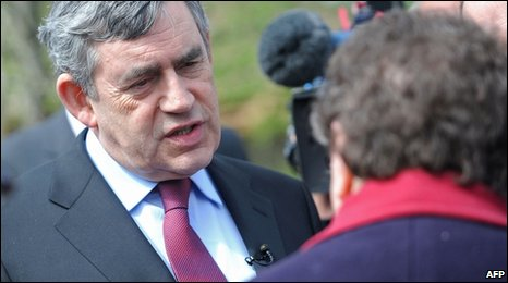 Gordon Brown speaking to Gillian Duffy