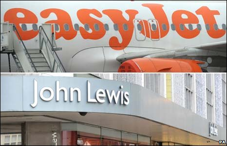 Easyjet and John Lewis logos
