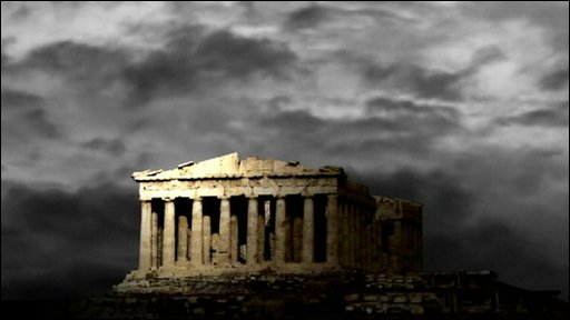 Storm clouds over Greek ruins