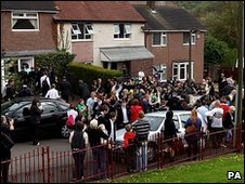 Crowd outside Gillian Duffy's house