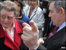 Prime Minister Gordon Brown speaks to local resident Gillian Duffy in Rochdale.