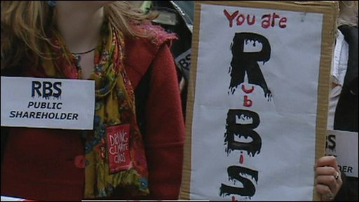 Protesters outside RBS AGM