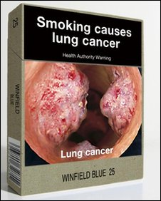 Department of Health and Ageing image of a mocked-up cigarette  packet with the banding removed and graphic health warnings displayed