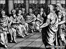 Roman senators debating during an election