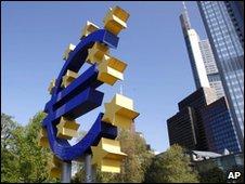 Euro sculpture in Frankfurt, file pic
