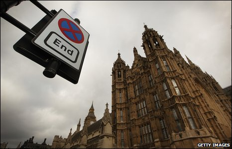 Road sign outside Britain's parliament