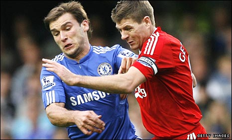 Chelsea's Branislav Ivanovic tussles with Steven Gerrard at Stamford Bridge last October