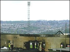 A street view of the fire damage at Bradford City Football Club