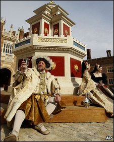 A photocall of Henry VIII's fully working wine fountain, which has been recreated at Hampton Court Palace.